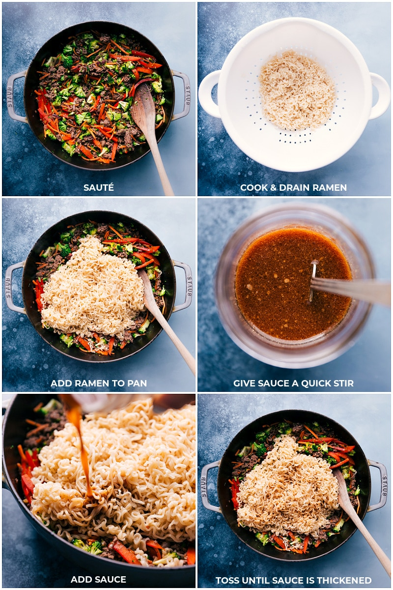 Process shots for Ground Beef Ramen