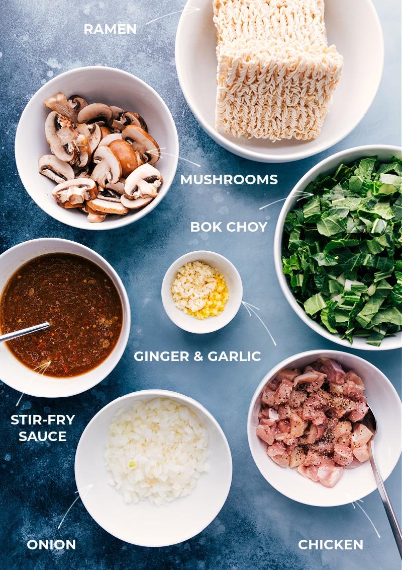 Ingredients needed for General Tso Ramen