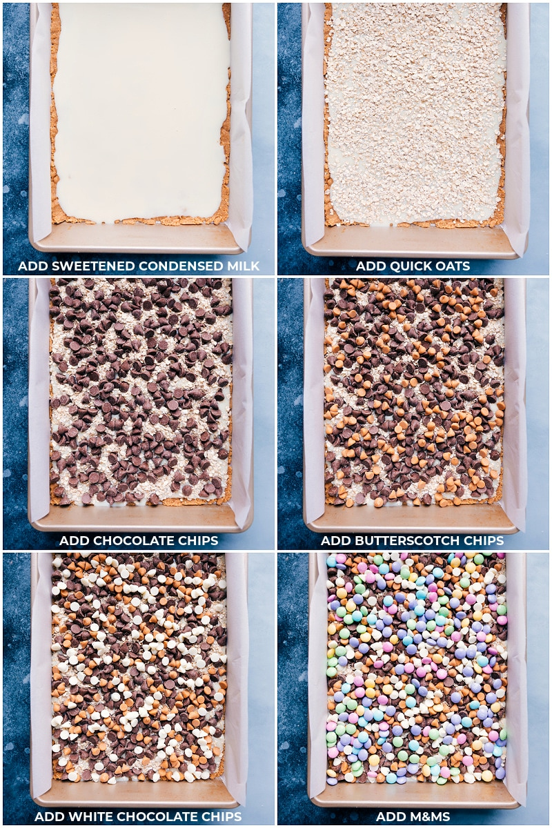Magic Bars process shots: adding the layers to the pan: first oats, then chocolate chips, butterscotch chips, white chocolate chips, and finally m&ms
