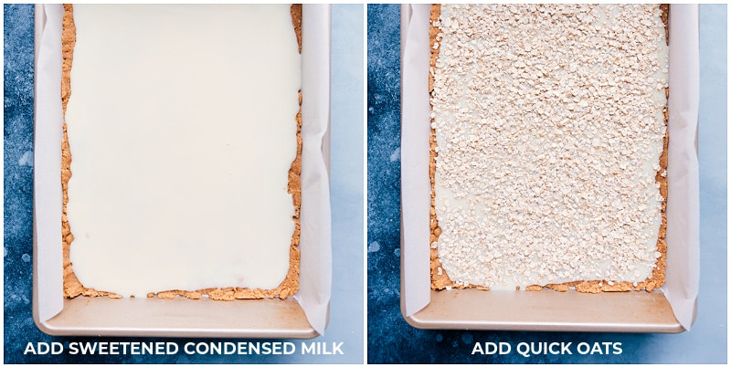 Process shots: adding sweetened condensed milk and quick oats to the crust.