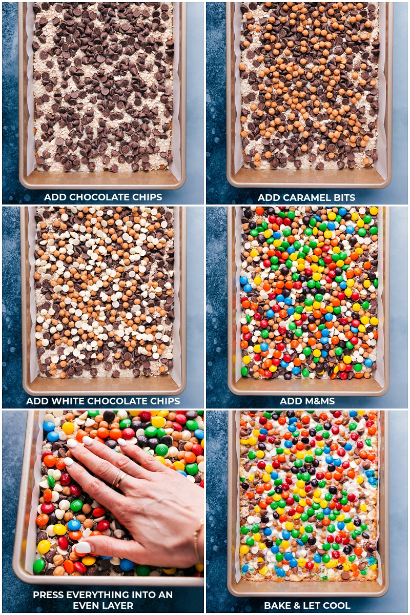 Process shots: adding the toppings to the Magic Cookie Bars.