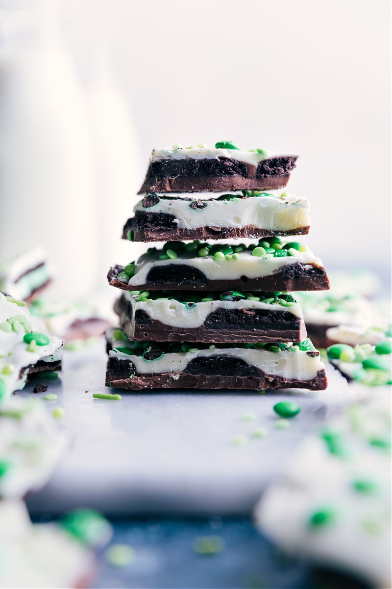 Image of the Mint Chocolate Bark stacked on top of each other