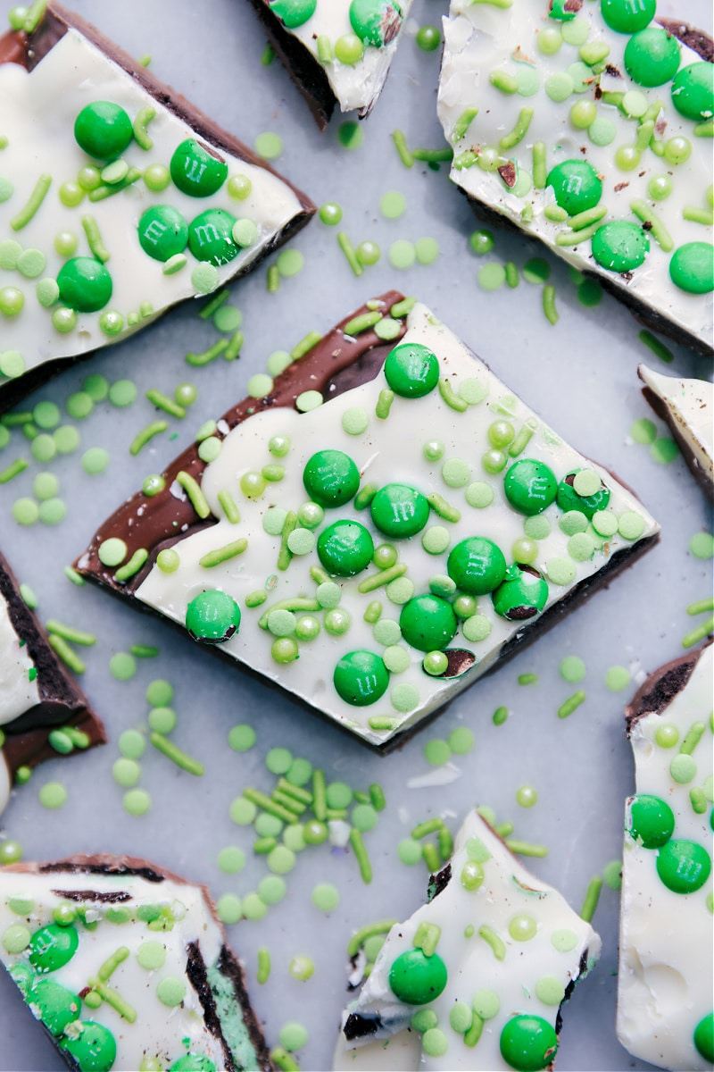 Pieces of Mint Chocolate Bark