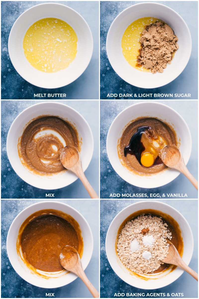 Process shots: images of the butter and sugar being mixed together and eggs, molasses, vanilla, baking agents, and oats being mixed together