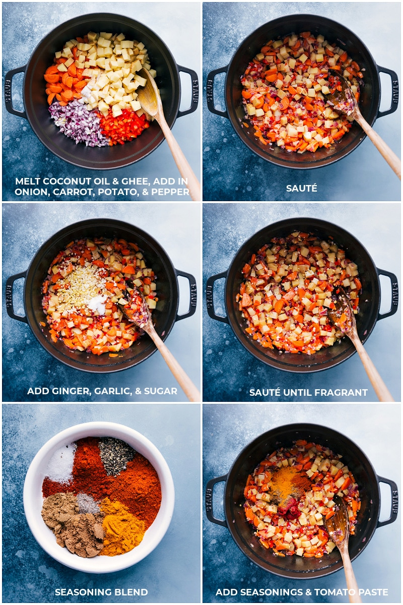Vegetable Masala process shots: Cooking the vegetables and adding the seasonings and tomato paste