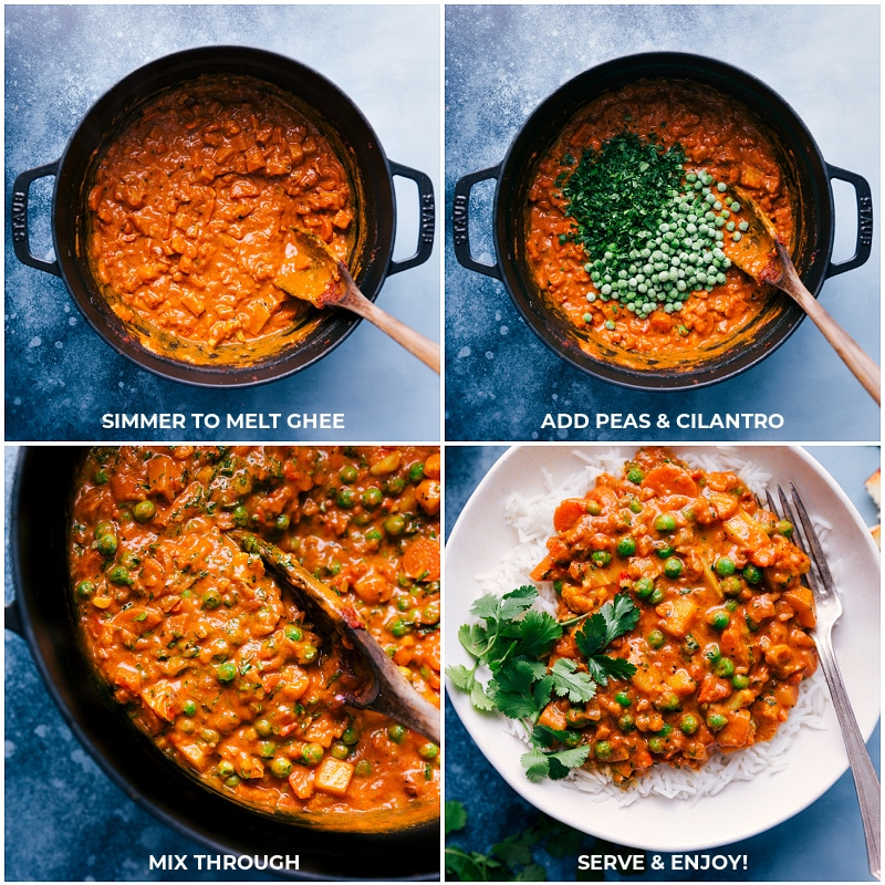 Process shots-- images of peas and cilantro being added and mixed through and it all being served over a bed of rice