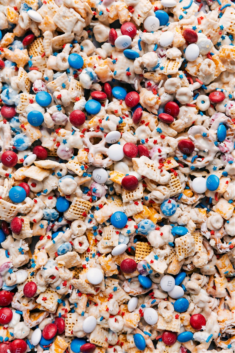 Overhead image of the 4th of July Snack Mix