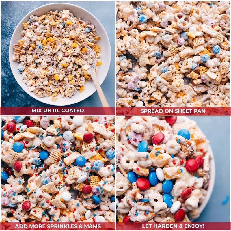 Process shots--images of the snack mix being mixed together and spread on a sheet pan and sprinkles being added on top