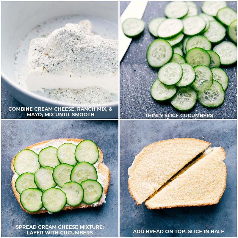 Process shots-- creating the filling and assembling the Cucumber Sandwiches