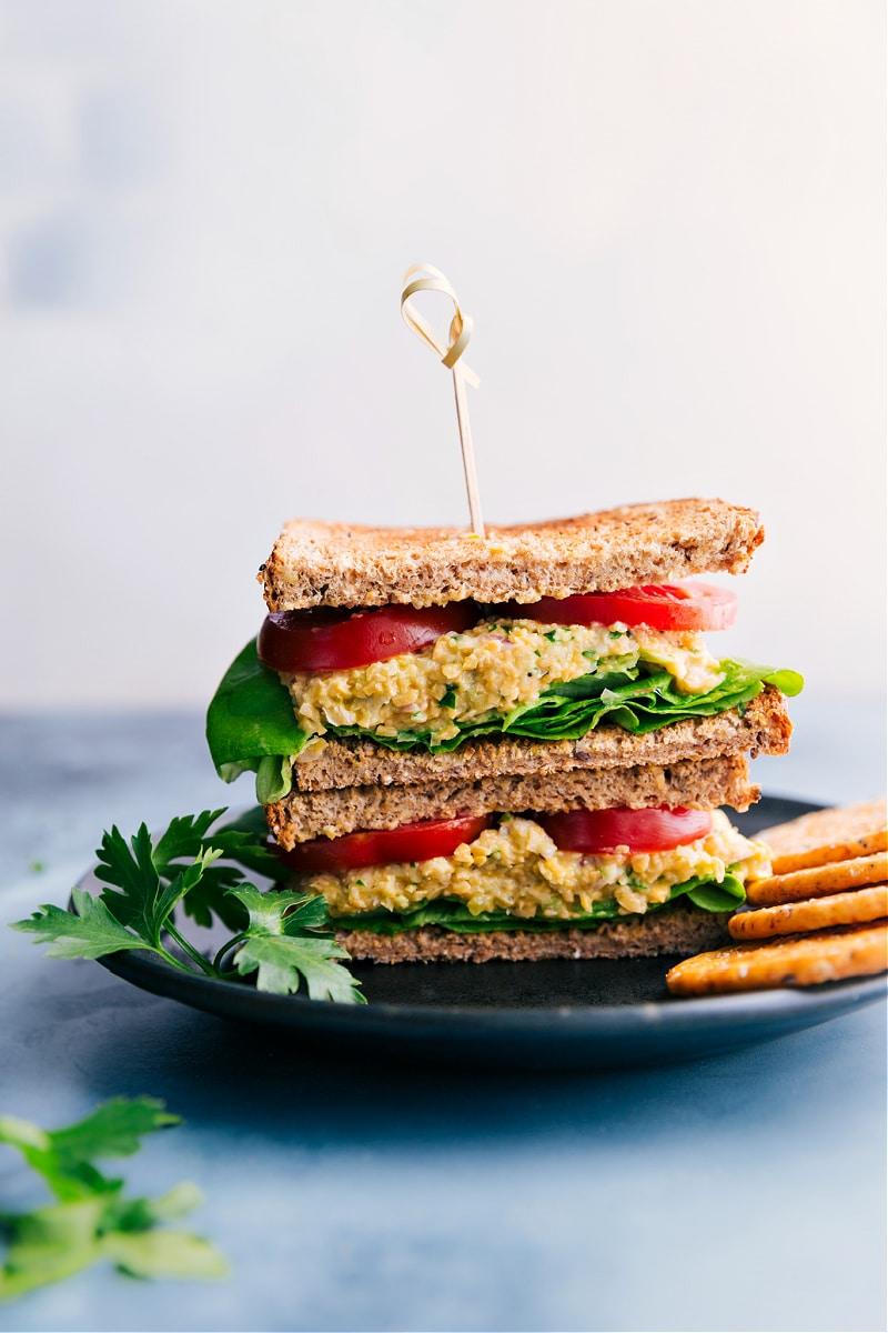 Image of the vegetarian tuna sandwich on a plate cut in half