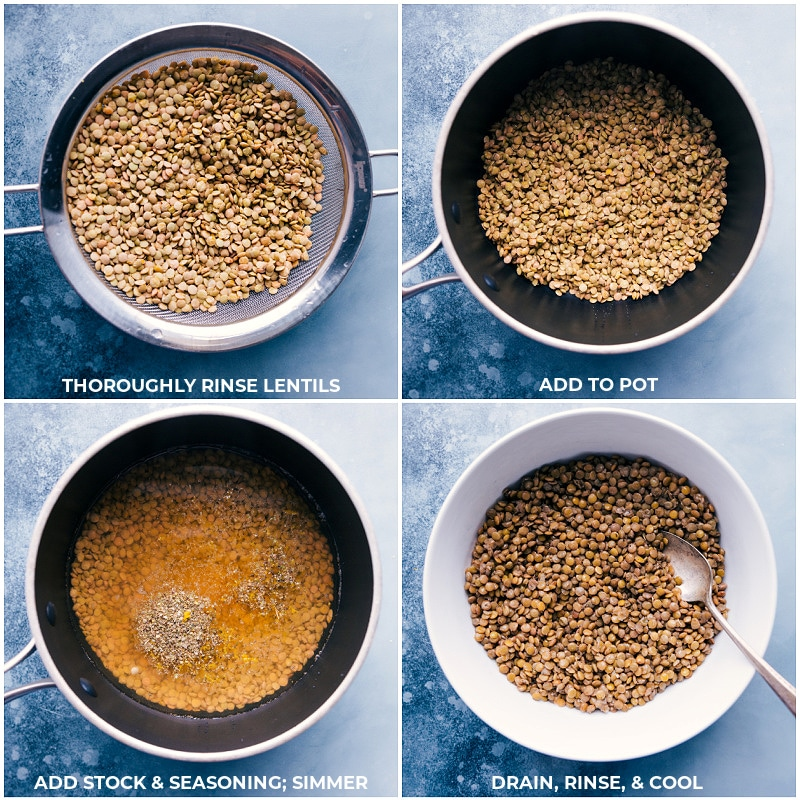 Process shots-- rinsing and cooking lentils