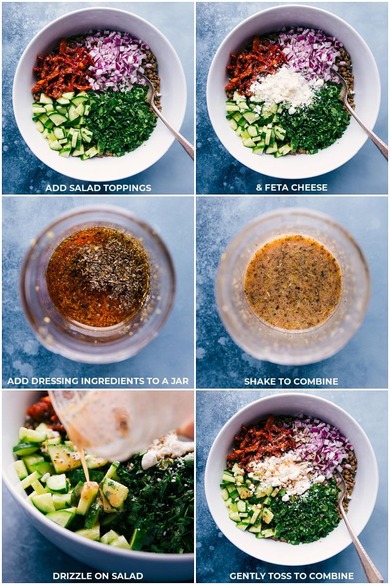 Process shots--assembling Lentil Salad