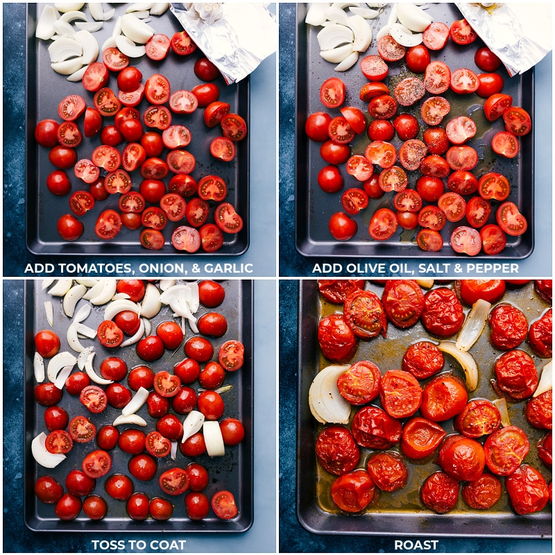 Process shots: roasting the vegetables for Tomato Basil Soup