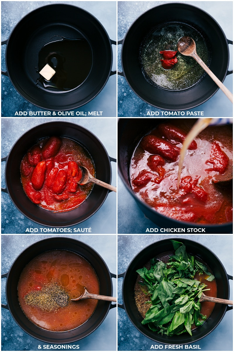 Process steps: making adding everything to the stock pot for this Tomato Basil Soup