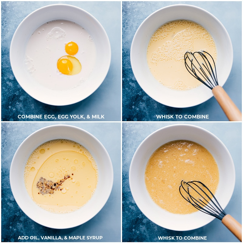 Process shots: whisking liquid ingredients together.