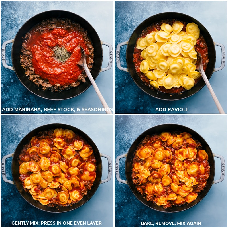 Process shots-- images of the marinara, beef stock, seasonings, and ravioli being added in, mixed together, and baked