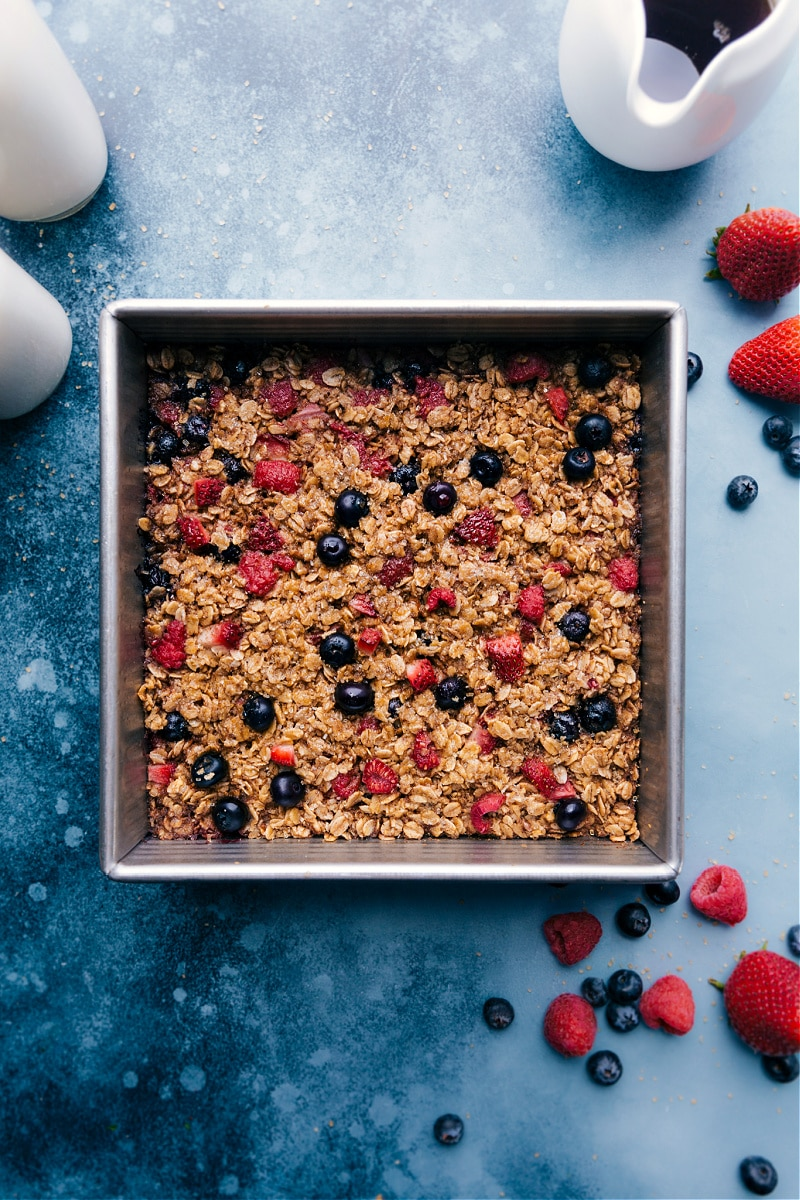 Overhead image of the Baked Oatmeal