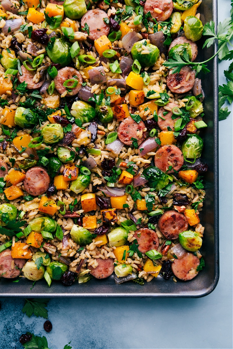 Overhead view of Butternut Squash Wild Rice Pilaf in the pan