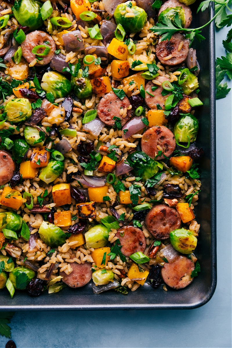Up close overhead image of the Butternut Squash Wild Rice Pilaf