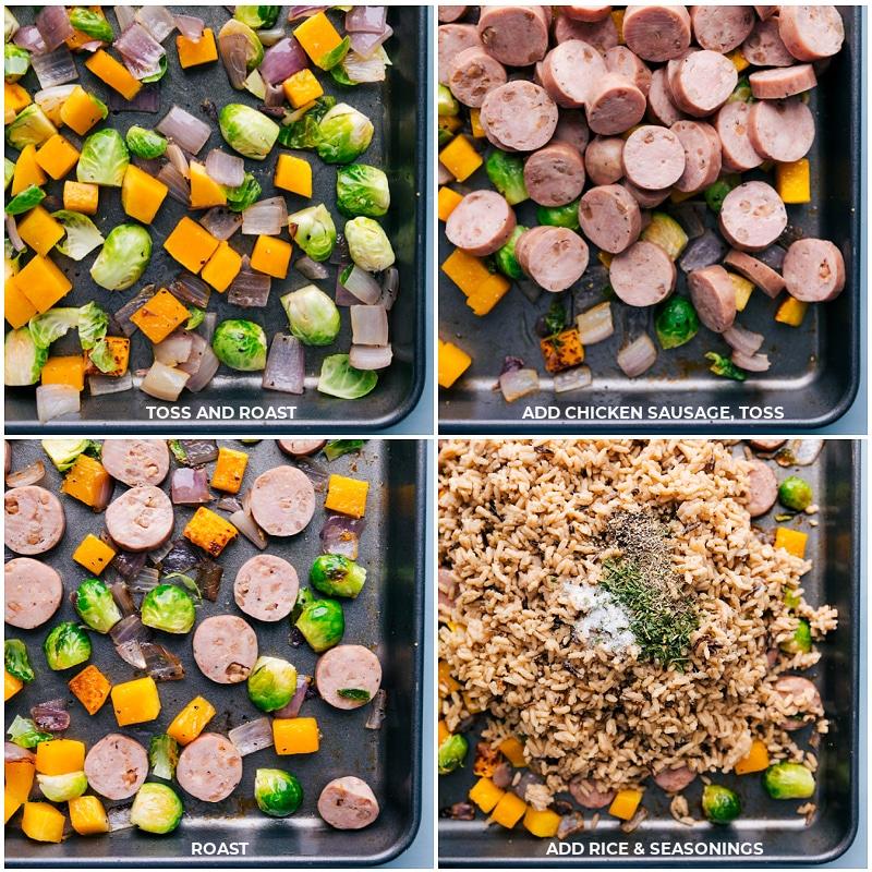 Process shots: roasting veggies and adding the sausage and rice