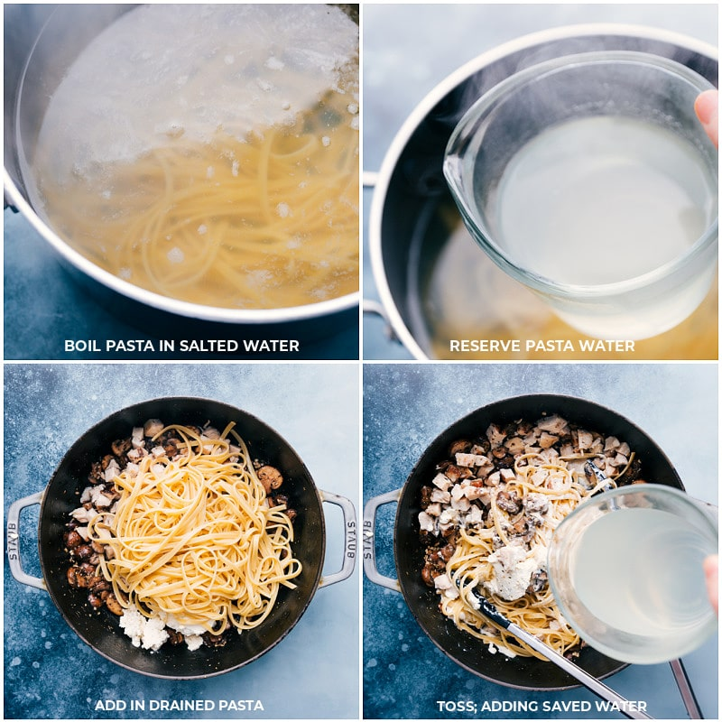 Process shots--Cooking the pasta and adding it to the pan along with cooking water