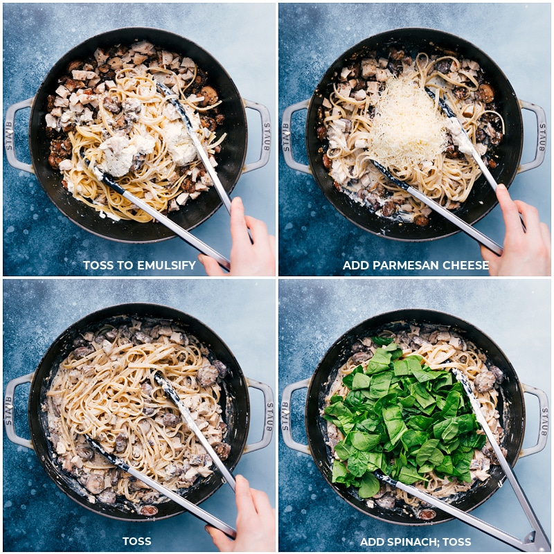 Process shots-- adding spinach and Parmesan to the pan
