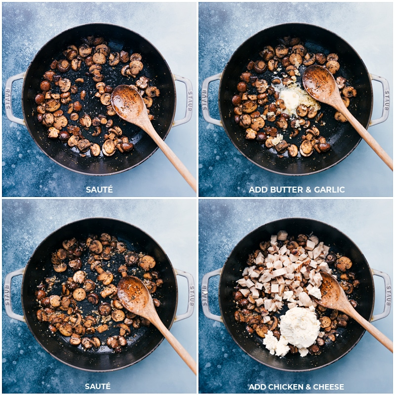 Process shots--adding ingredients to the browned mushrooms.