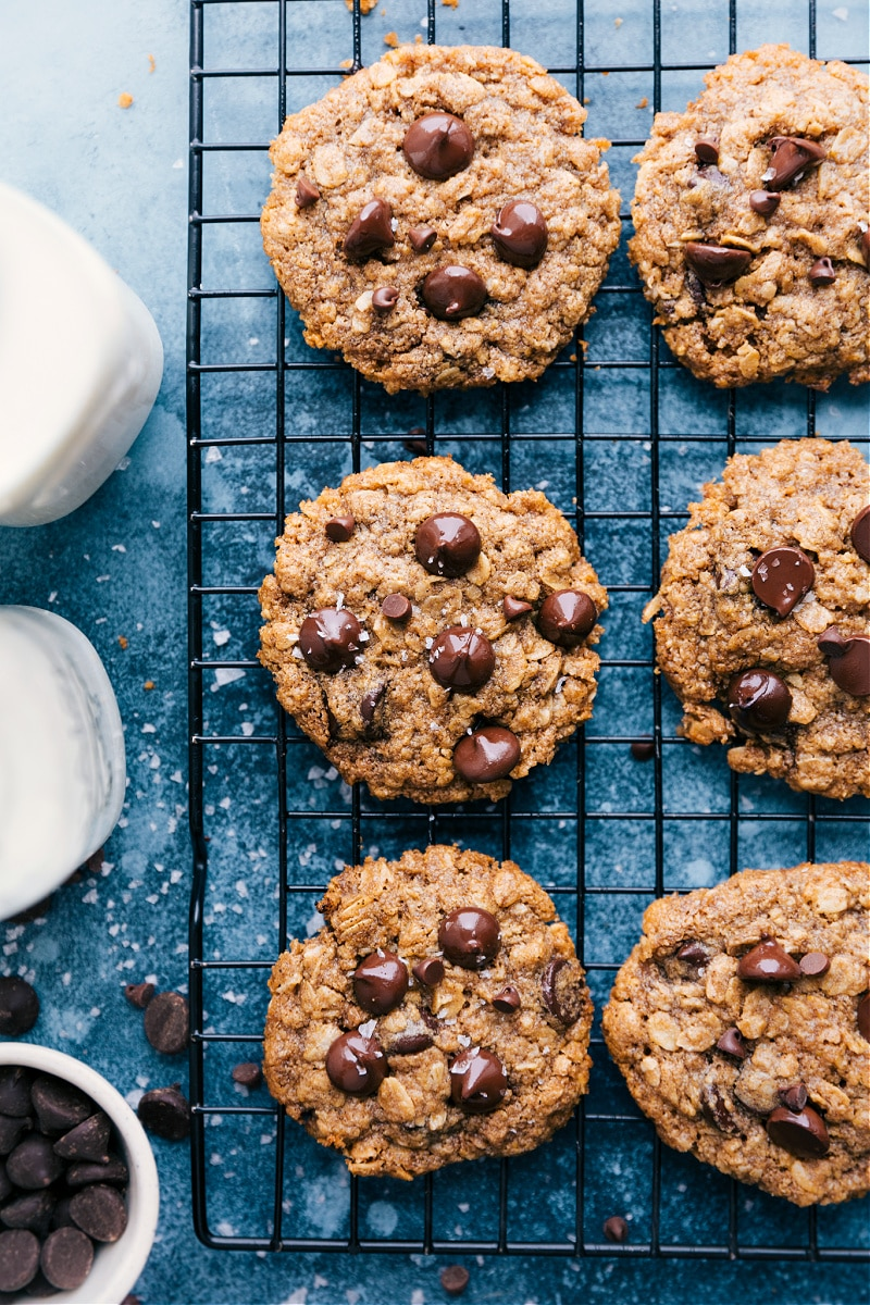 Healthy Oatmeal Chocolate Chip Cookies on a cooling rack