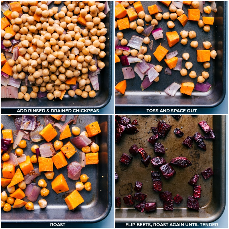 Adding ingredients to the roasting pans