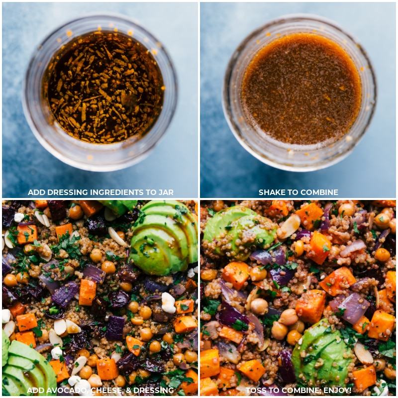 Process shots: creating the dressing and adding it to the pan, along with toppings for this Sheet Pan Quinoa Pilaf