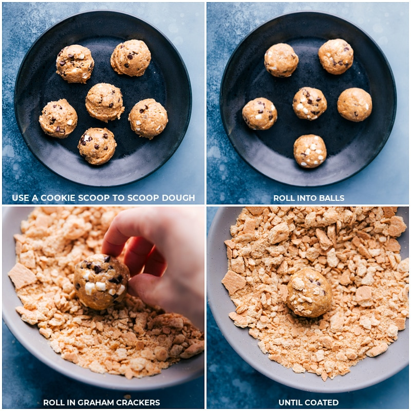 Process shots: rolling the dough into balls and coating with graham cracker crumbs