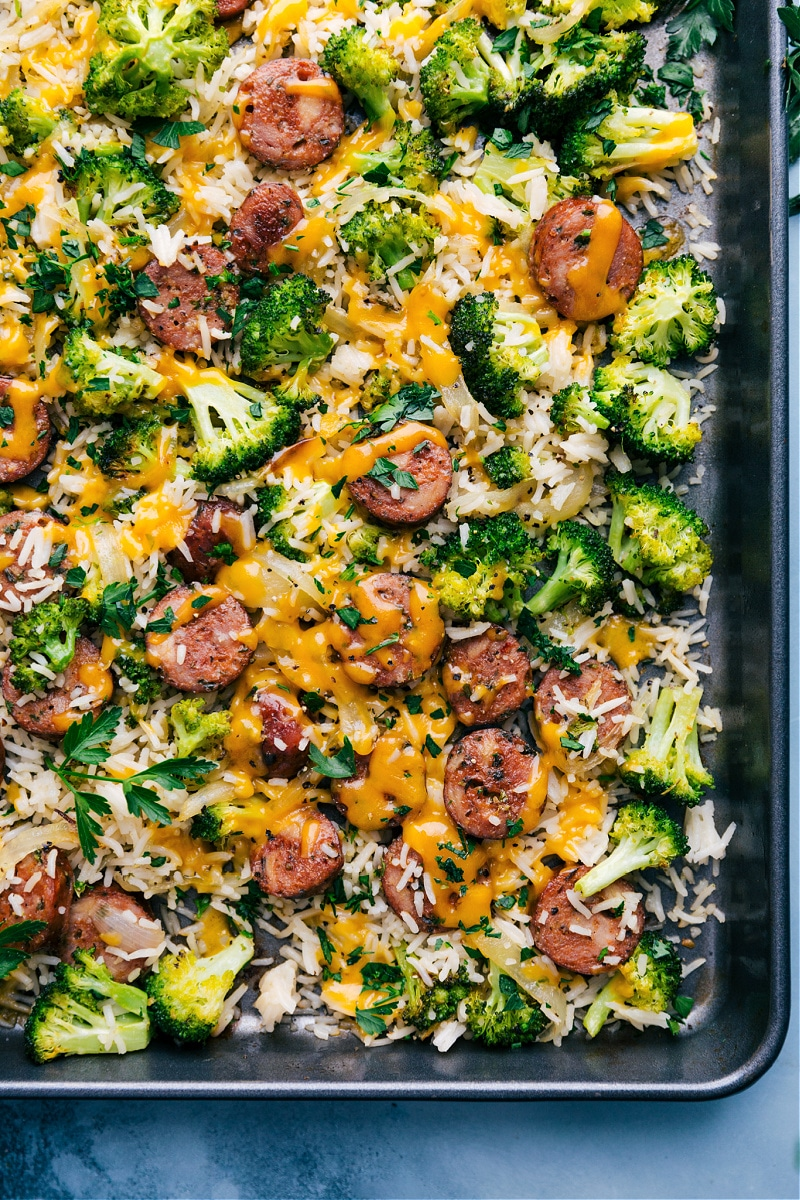 Overhead image of Cheesy Chicken, Broccoli and Rice on a tray