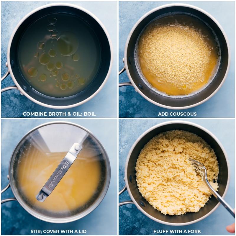 Process shots-- making couscous for Kidney Bean Bowls