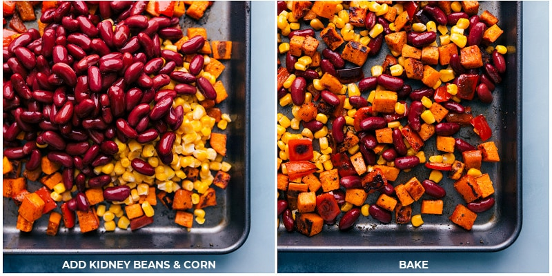 Process shots-- adding beans and corn to the baking pan