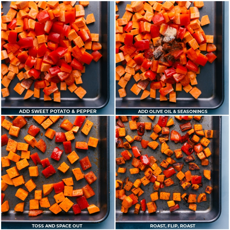 Process shots--roasting the peppers and sweet potatoes