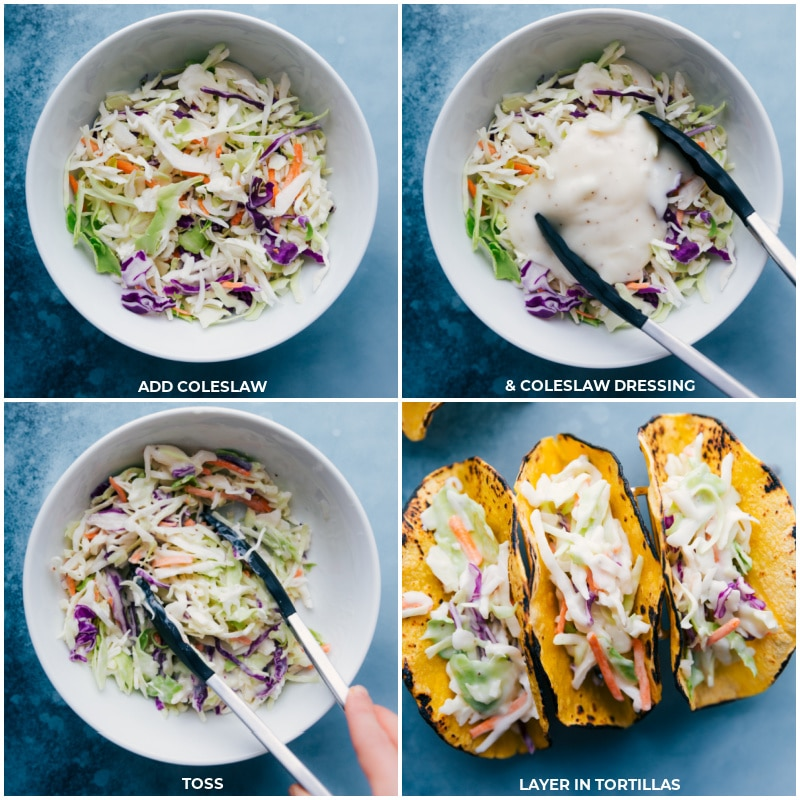 Process shots-- mix coleslaw with dressing; toss; load into charred tortillas.
