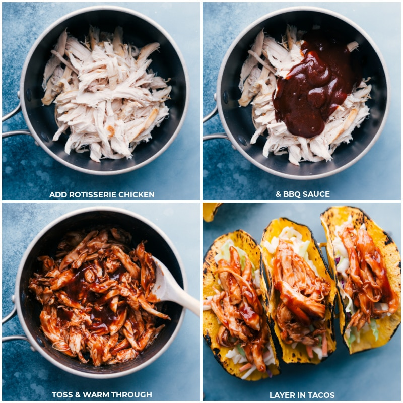 Process shots-- add chicken and BBQ sauce to a pan; toss and warm through; add onto the tortillas.
