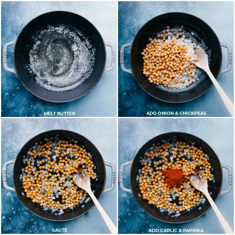 Process shots--melt butter; add onion and chickpeas; sauté; add paprika and garlic.