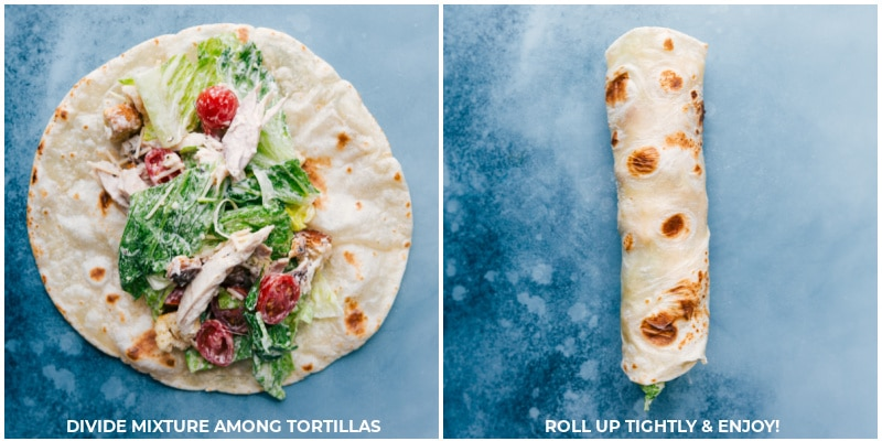 Process shots--divide the salad mixture among the tortillas; roll up tightly and serve.