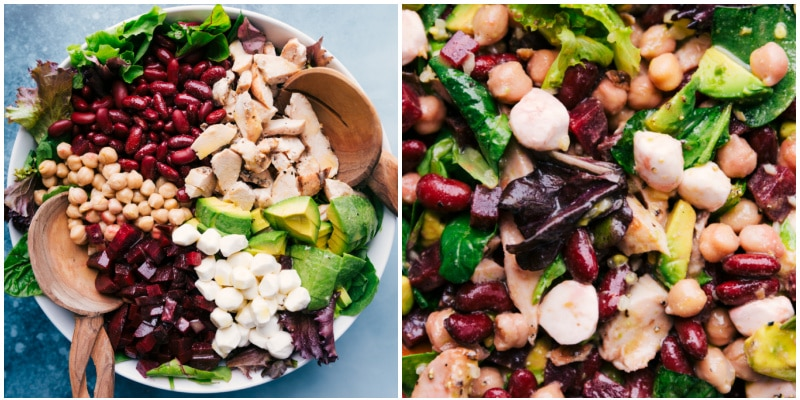The salad with all the toppings on the surface; the salad with all the ingredients mixed in.