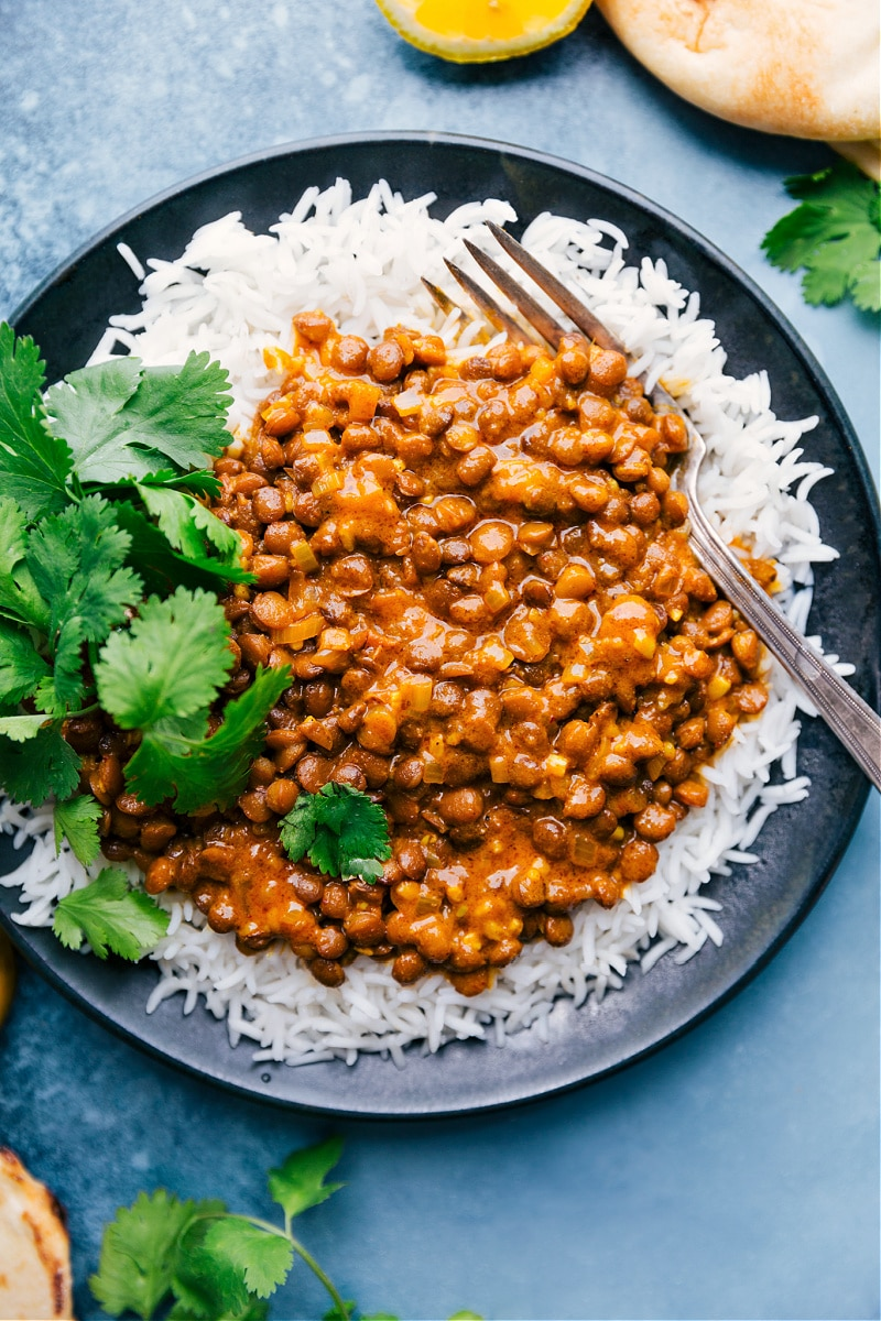 Coconut Curry Lentils with rice, on a plate