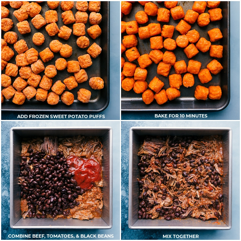 Process shots-- image of the sweet potato puffs being roasted; prepping the beef; mixing the beef ingredients