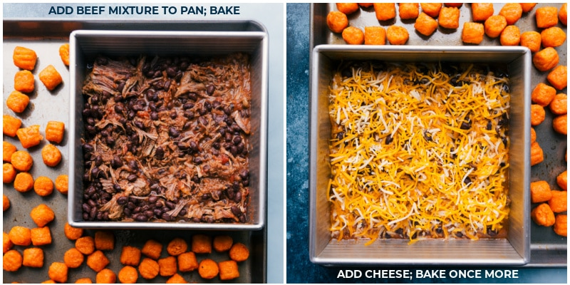 Process shots-- the beef mixture being baked with the puffs; cheese being added on top