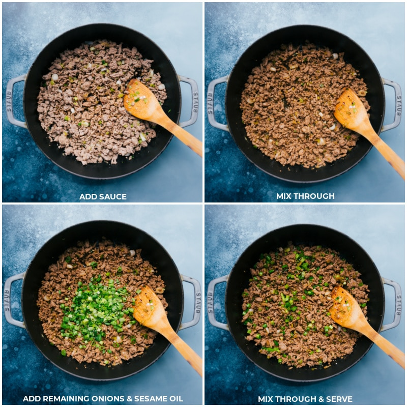 Process of these Korean Ground Turkey Bowls-- images of the sauce, onions, and sesame oil being added