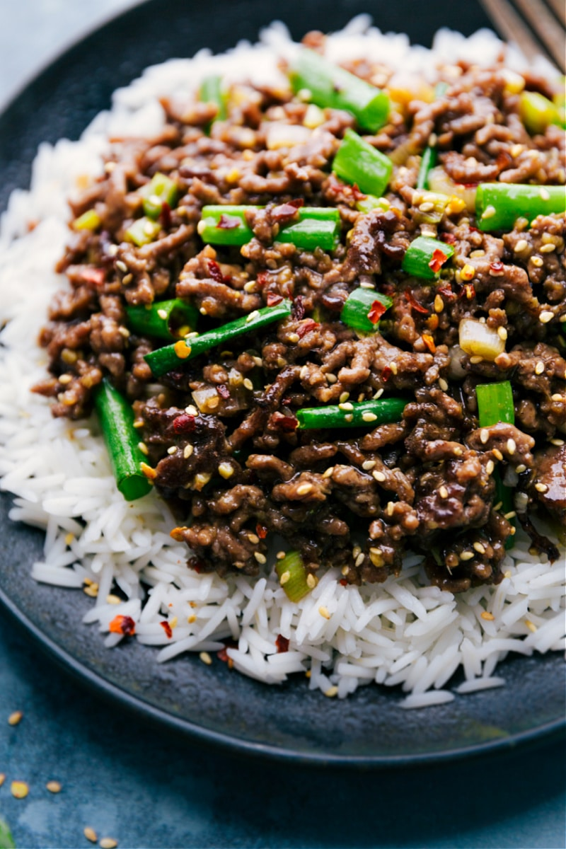 Mongolian Ground Beef on a plate ready to be eaten
