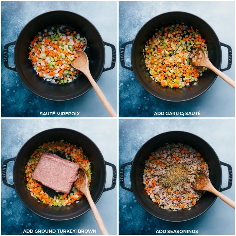 Process shots--Sauté mirepoix; add garlic; add ground turkey; add seasonings; continue to sauté after each addition.