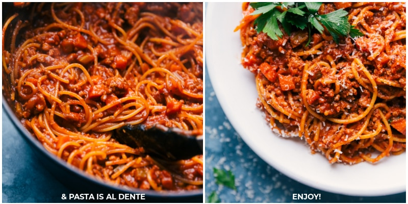 Process shots--cook until pasta is al dente; serve.