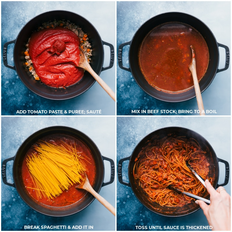 Process shots --Add tomato paste and pureé and sauté; mix in beef stock and bring to a boil; add broken spaghetti and simmer; toss to thicken the sauce.