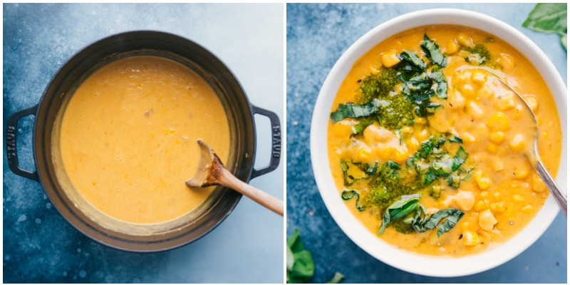 Potato Corn Chowder in the pot and in a bowl
