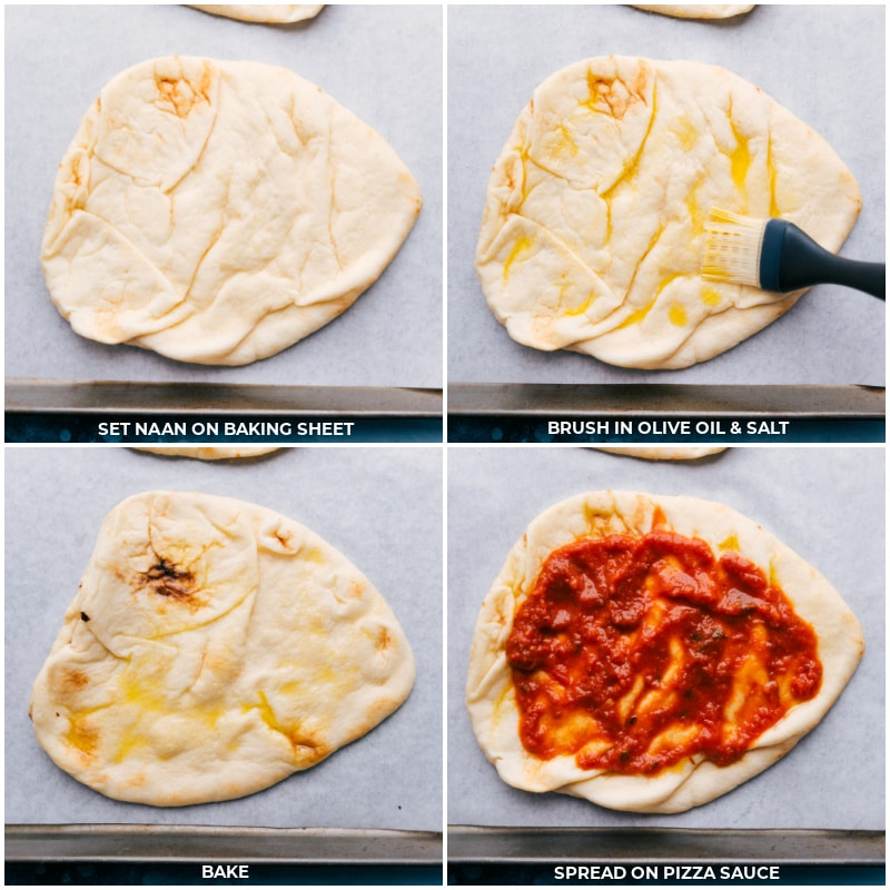 Process shots-- images of the olive oil being brushed on the naan and then pizza sauce being added